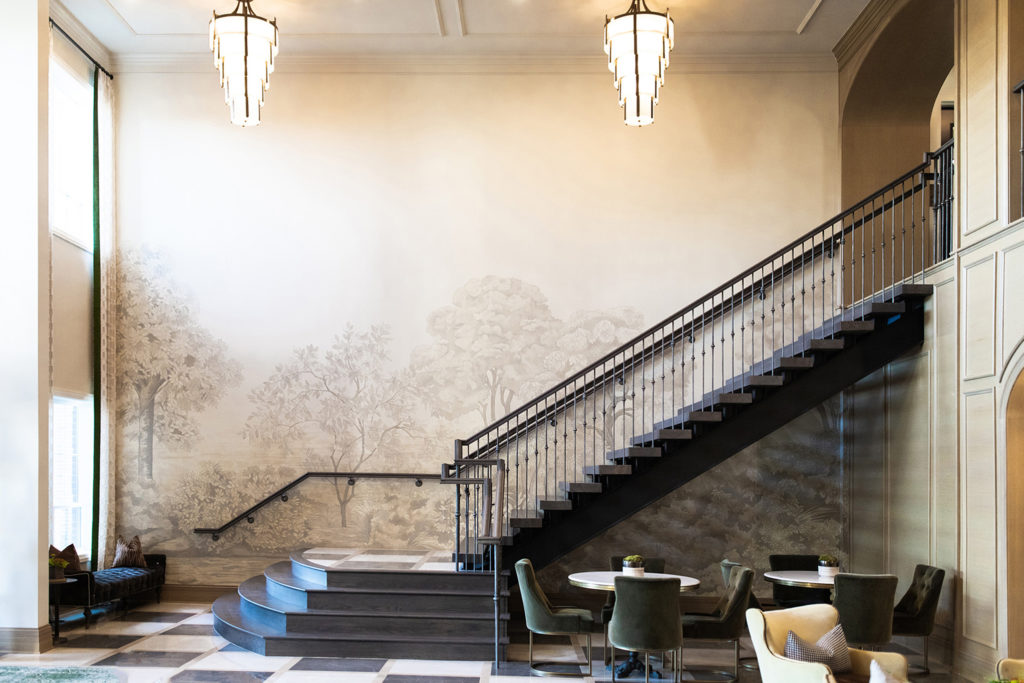 Crimson Design Group Belmont House Lobby Mural by Sarah Hout
